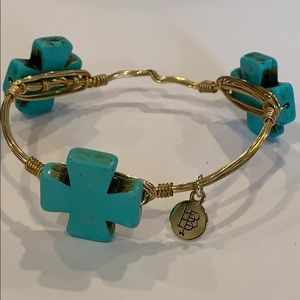Bourbon and bowties turquoise cross statement